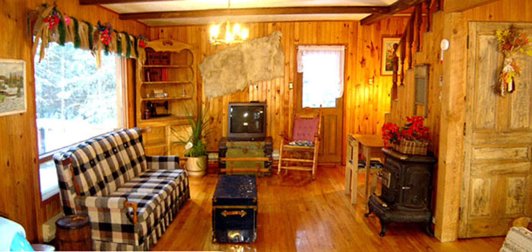 Mont-Tremblant Wood Cottage for rent living room with stone fireplace and cable television
